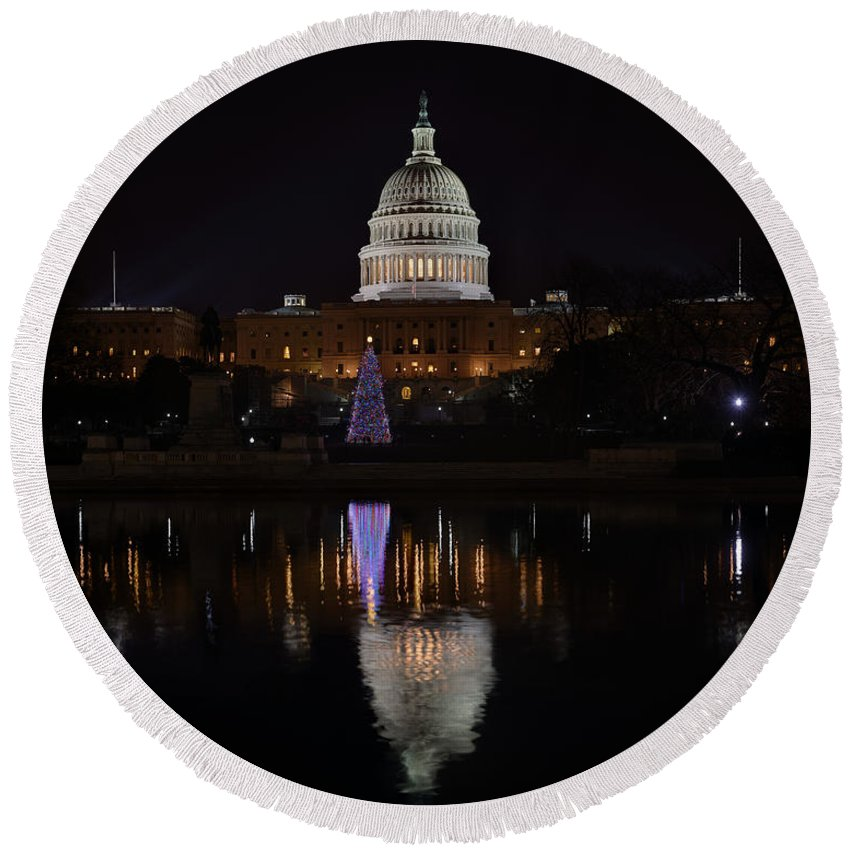 Metro Round Beach Towel featuring the photograph Capitol Christmas - 2012 by Metro DC Photography