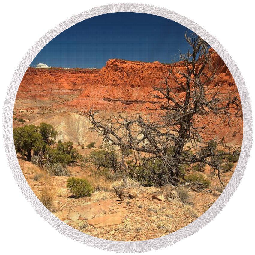 Capitol Reef National Park Round Beach Towel featuring the photograph Capitol Reef Cliffs by Adam Jewell
