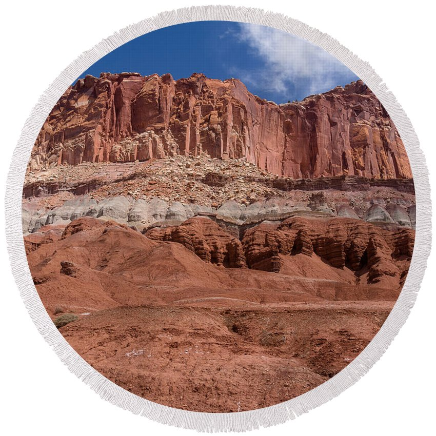 Capitol Reef Round Beach Towel featuring the photograph Capitol Reef Majesty by Greg Nyquist