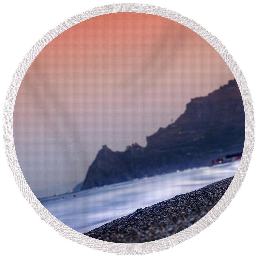 Messina Round Beach Towel featuring the photograph Capo Sant'alessio by Alfio Finocchiaro