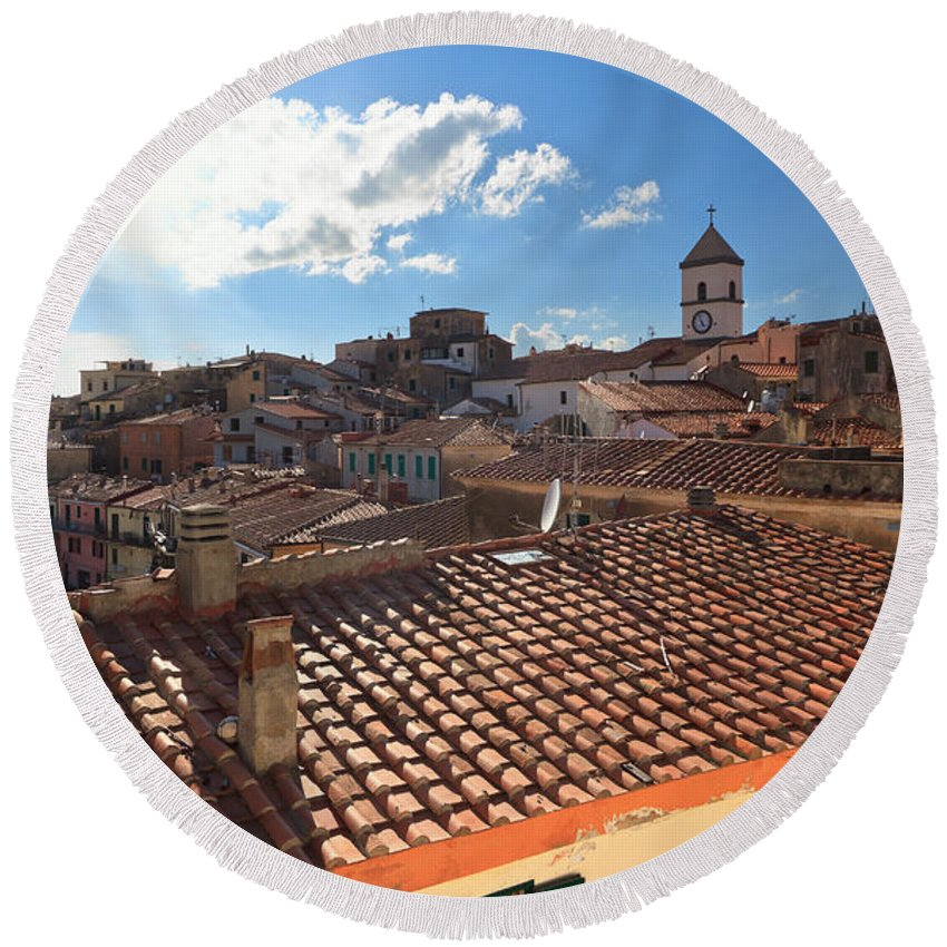 Tuscany Round Beach Towel featuring the photograph Capoliveri Against The Sun - Elba Island by Antonio Scarpi