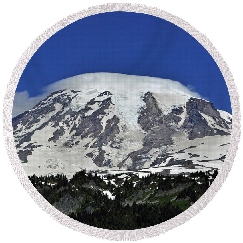 Capped Round Beach Towel featuring the photograph Capped Rainier Up Close by Tikvah's Hope