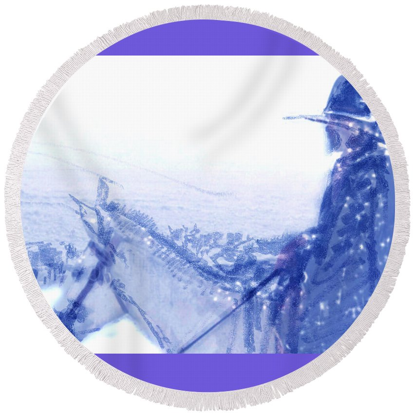 Capt. Call In A Snowstorm Round Beach Towel featuring the drawing Capt. Call In A Snow Storm by Seth Weaver