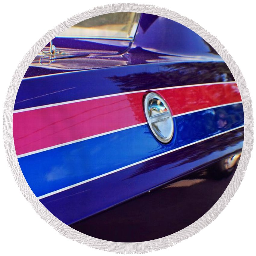 Cars Round Beach Towel featuring the photograph Car Colors by Karl Rose