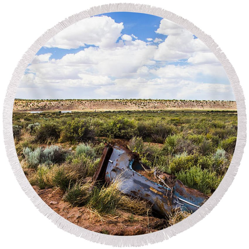 Route 66 Round Beach Towel featuring the photograph Car Door In The Desert by Angus Hooper Iii