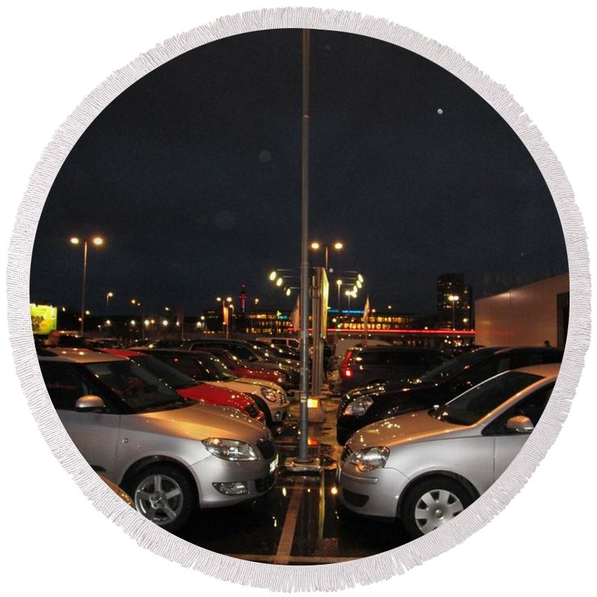 City Round Beach Towel featuring the photograph Car Park Beauty by Rosita Larsson