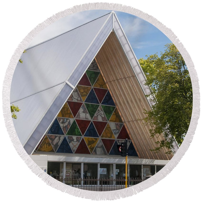Christchurch New Zealand Cardboard Cathedral Stained Glass Window Windows Place Places Of Worship Church Churches Cathedrals Landscape Landscapes Building Buildings Structure Structures Architecture Shigeru Ban Round Beach Towel featuring the photograph Cardboard Cathedral by Bob Phillips
