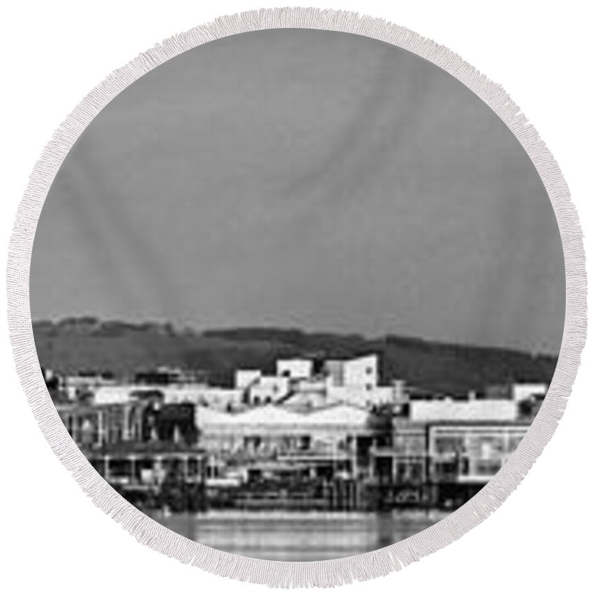 Cardiff Bay Round Beach Towel featuring the photograph Cardiff Bay Panorama 2 Mono by Steve Purnell