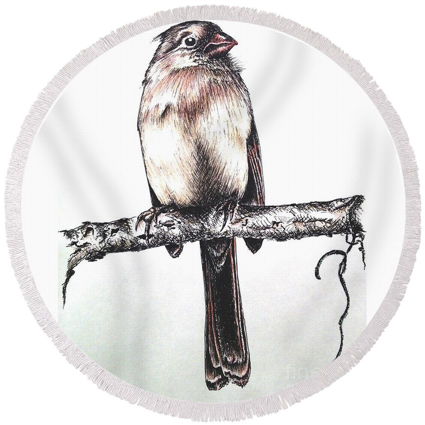 Ink Sketch Round Beach Towel featuring the drawing Cardinal Female by Katharina Filus