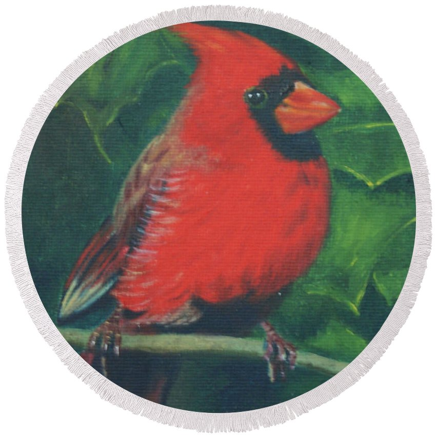 Bird Round Beach Towel featuring the painting Cardinal by Jill Ciccone Pike
