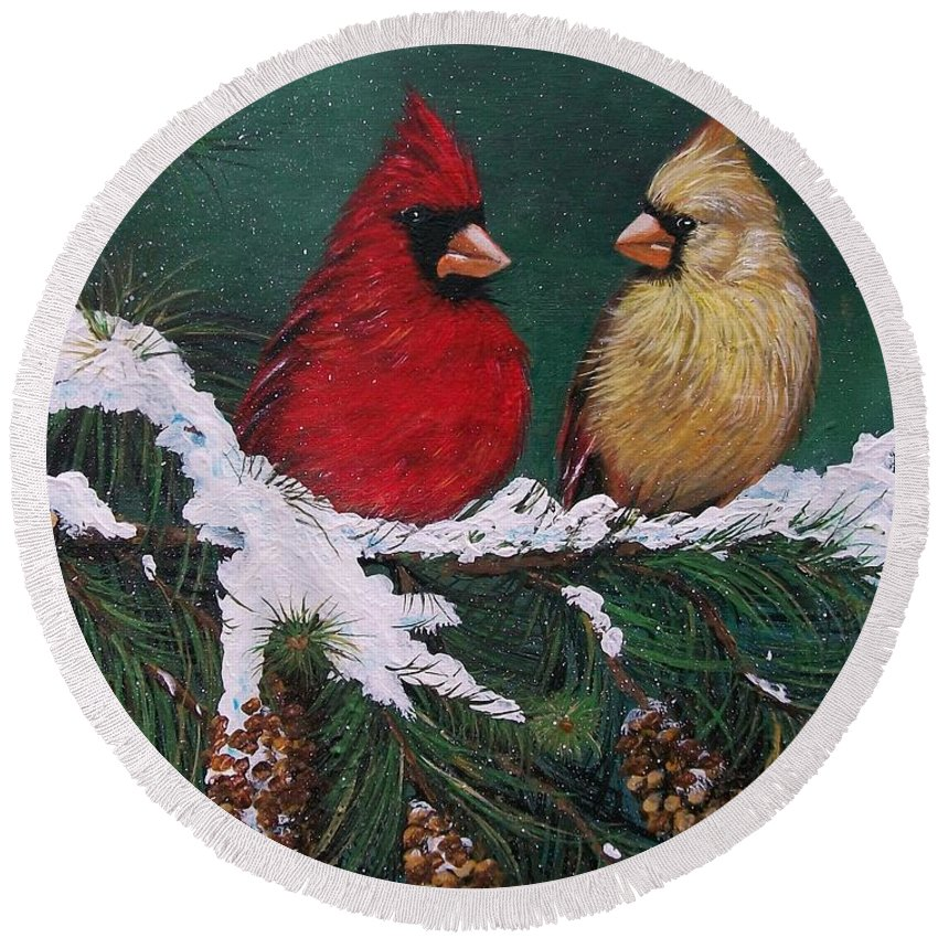 Christmas Round Beach Towel featuring the painting Cardinals In The Snow by Sharon Duguay