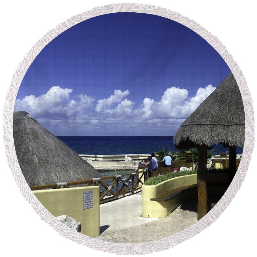Caribbean Round Beach Towel featuring the photograph Caribbean Breeze One by Ken Frischkorn