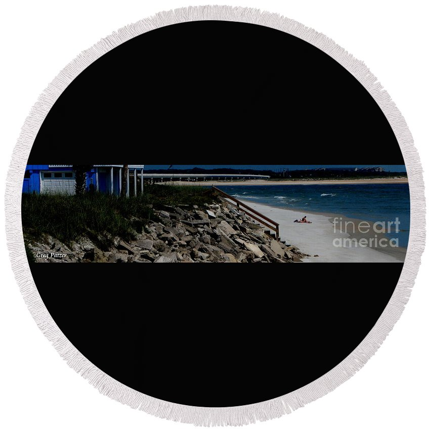 Beach Front Round Beach Towel featuring the photograph Caribbean Colors by Greg Patzer
