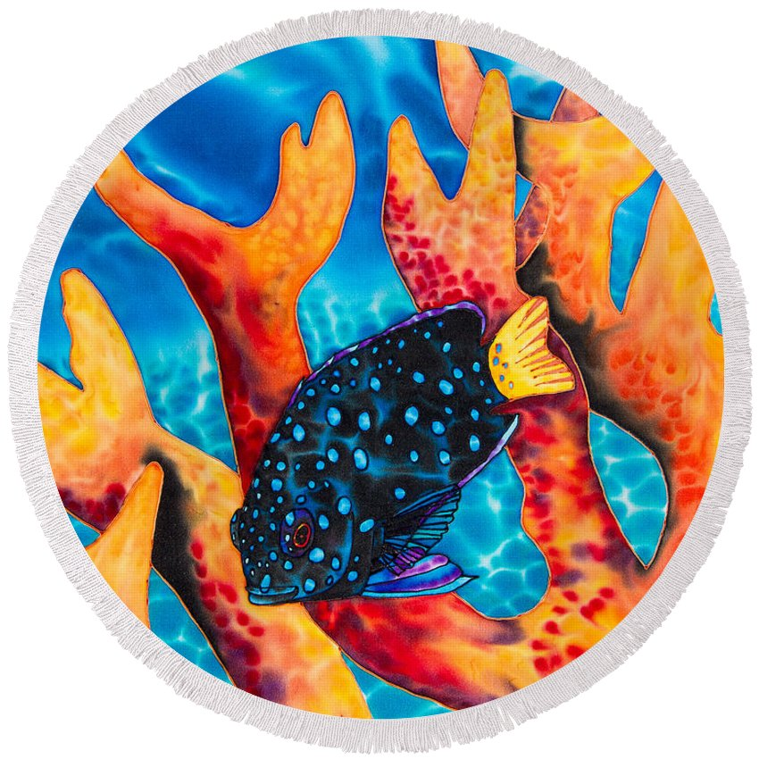 Damselfish Art Round Beach Towel featuring the painting Caribbean Damselfish by Daniel Jean-Baptiste