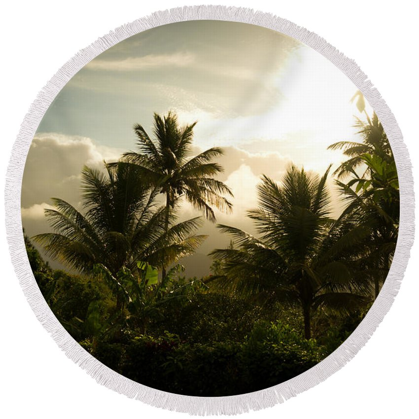 Saint Lucia Round Beach Towel featuring the photograph Caribbean Daybreak by Ferry Zievinger