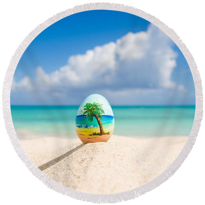 Easter Round Beach Towel featuring the photograph Caribbean Easter Egg by Ferry Zievinger