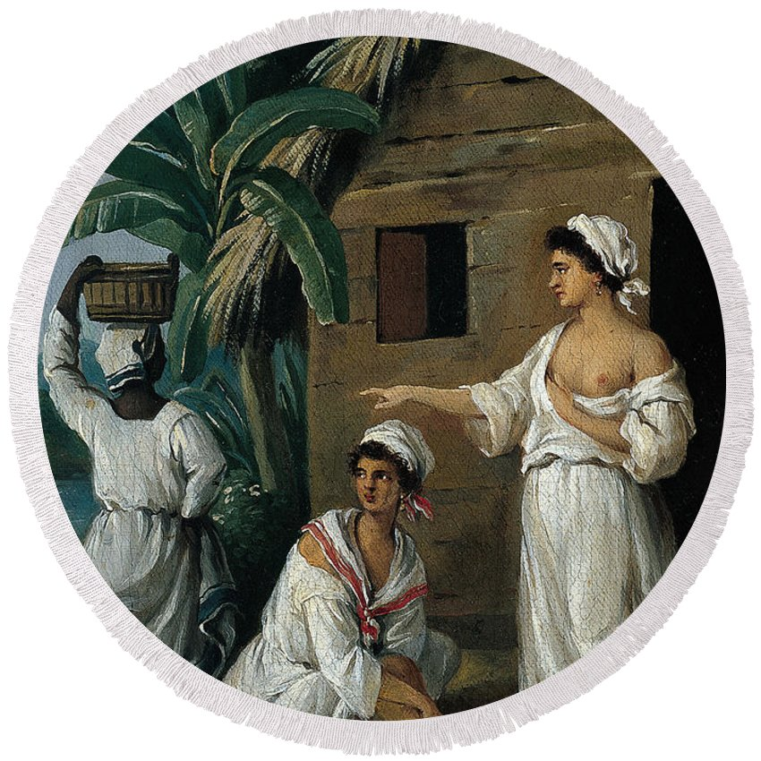 Agostino Brunias Round Beach Towel featuring the painting Caribbean Women In Front Of A Hut by Agostino Brunias
