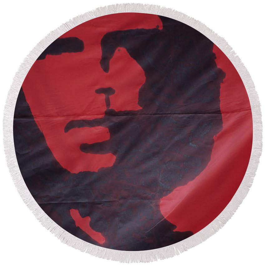 Che Round Beach Towel featuring the photograph Caring Che by James Brunker