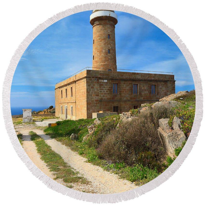 Bay Round Beach Towel featuring the photograph Carloforte Lighthouse by Antonio Scarpi