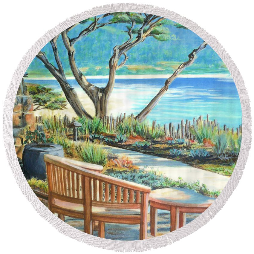 Carmel Round Beach Towel featuring the painting Carmel Lagoon View by Jane Girardot