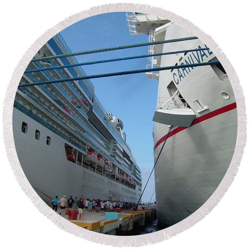 Carnival Triumph Round Beach Towel featuring the photograph Carnival Triumph In Port by Susan Wyman
