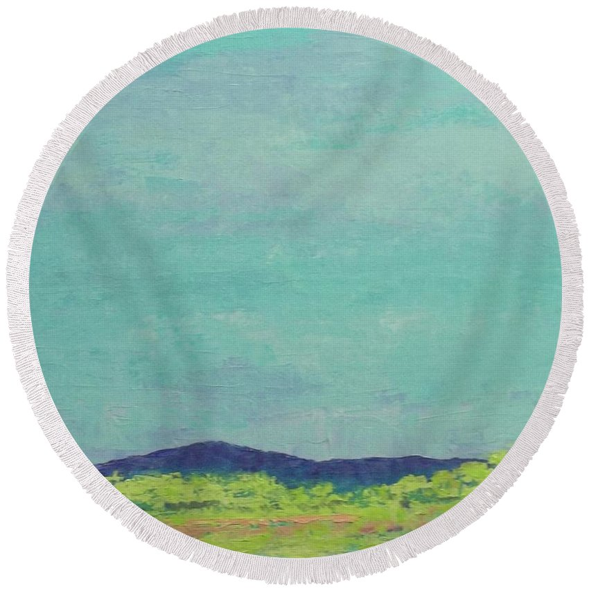 Pantone 2017 Greenery Round Beach Towel featuring the painting Carolina Spring Day by Gail Kent