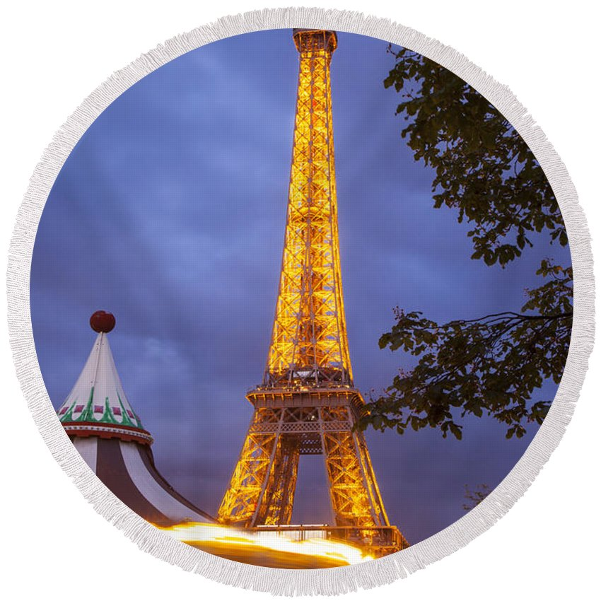 Architectural Round Beach Towel featuring the photograph Carousel And Eiffel Tower by Brian Jannsen