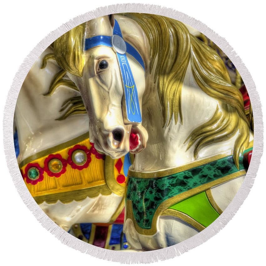 Carousel Round Beach Towel featuring the photograph Carousel Charger by Wayne Sherriff