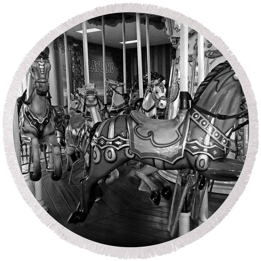 Carousel Round Beach Towel featuring the photograph Carousel Horses In Black And White by Alice Gipson