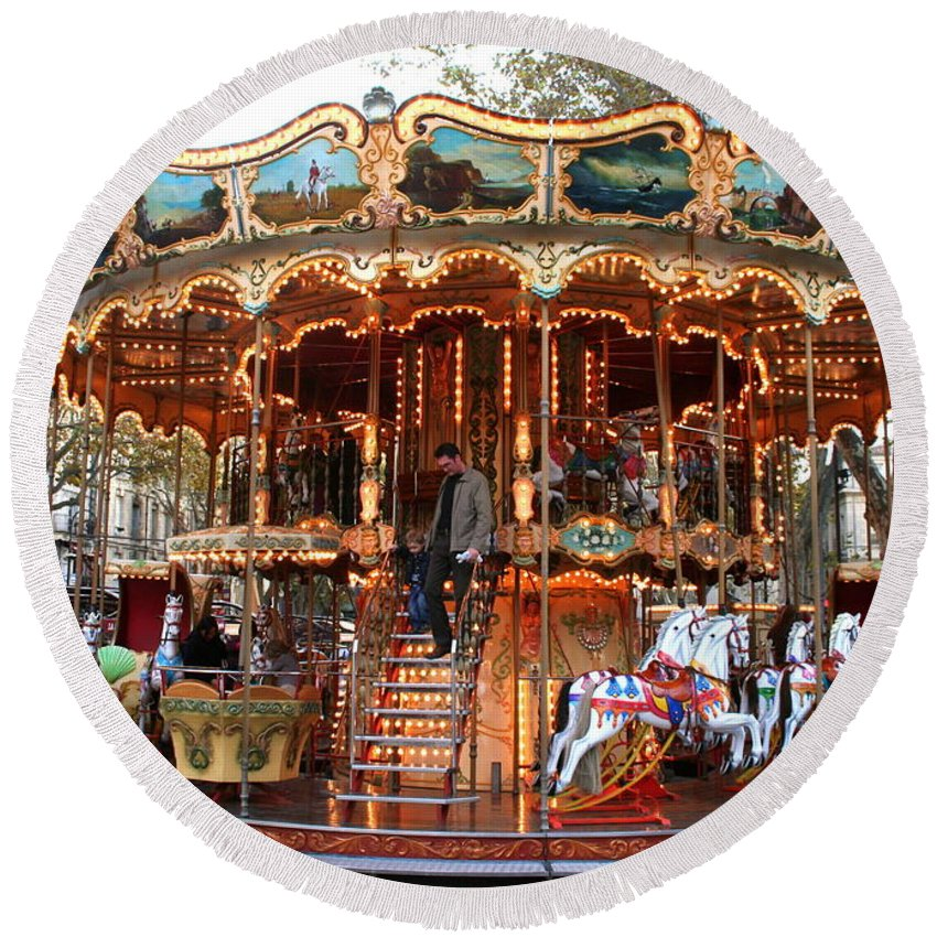 Carousel Round Beach Towel featuring the photograph Carousel In Avignon by Laurel Talabere