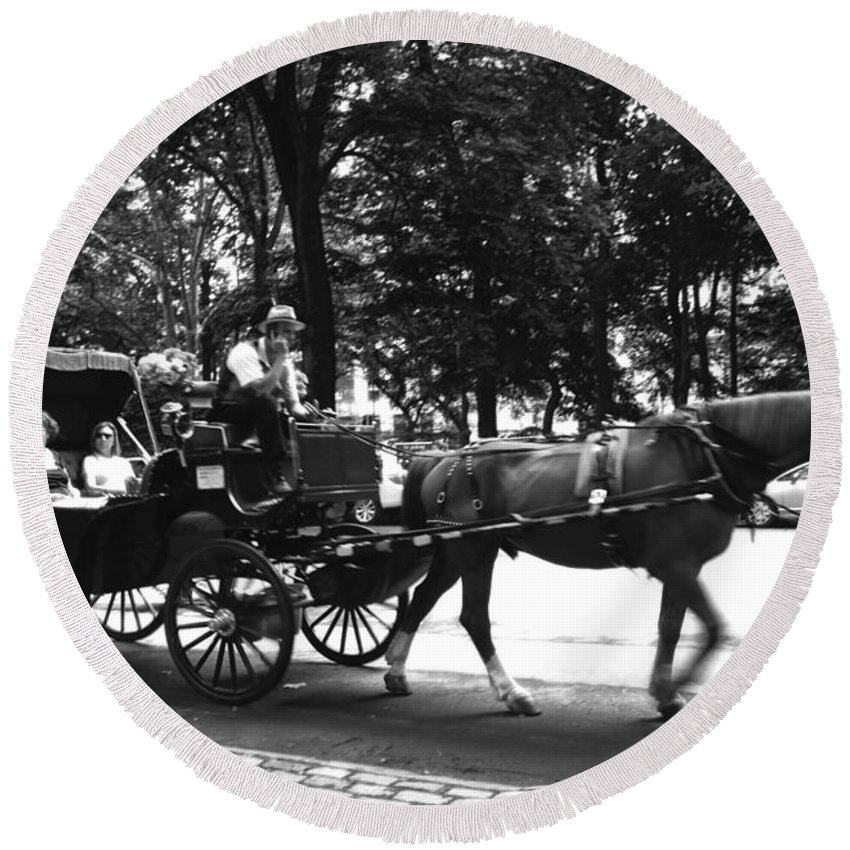 Carriage Round Beach Towel featuring the photograph Carriage Ride Nyc by Conor McLaughlin