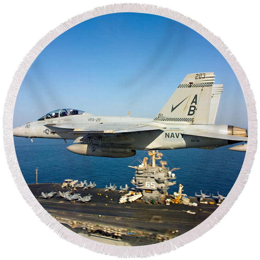 Sailors Round Beach Towel featuring the photograph Carrier Below by Ricky Barnard