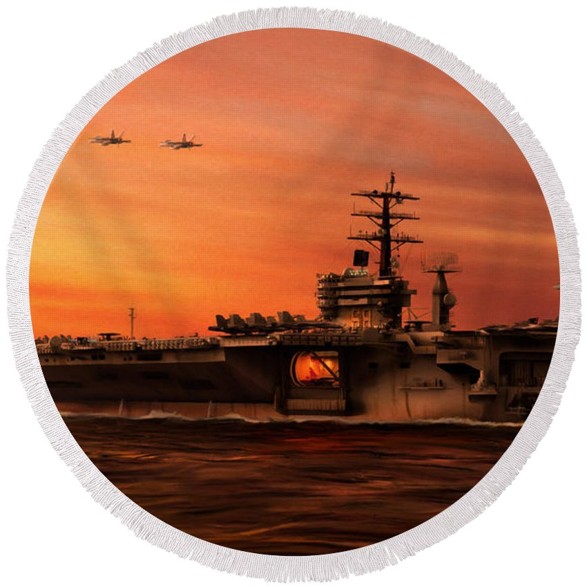 Uss Hornet Round Beach Towels