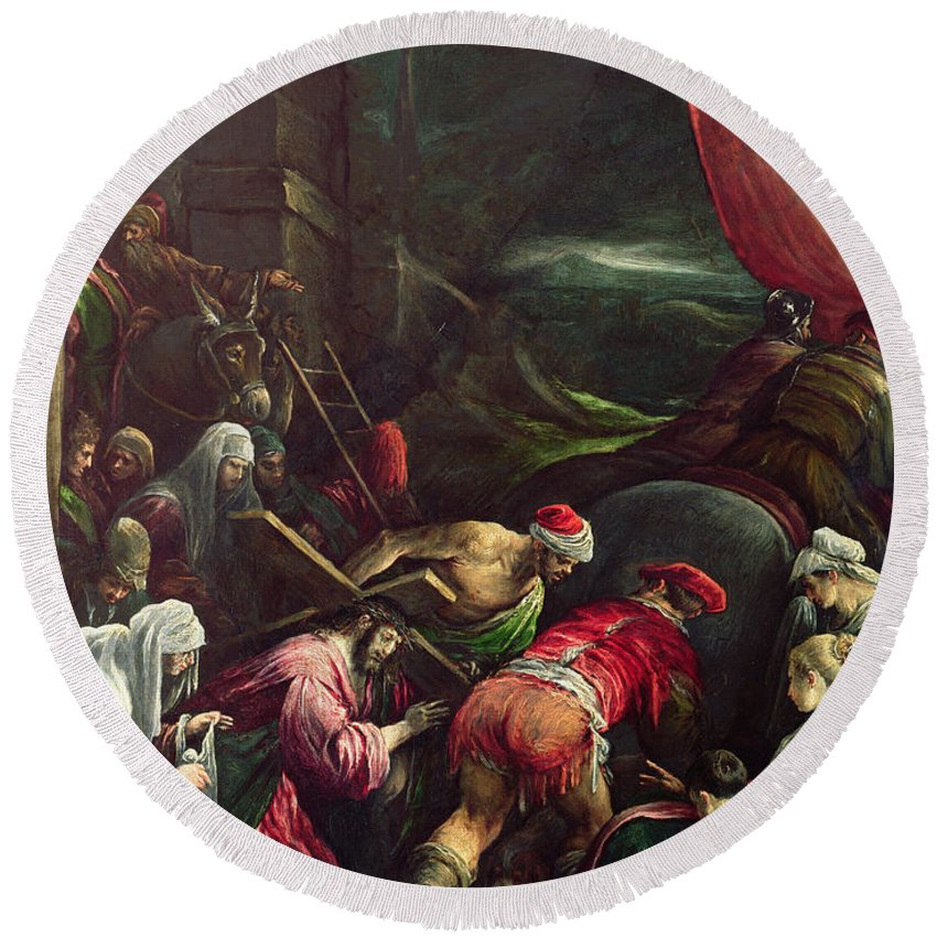Son Of God Round Beach Towel featuring the painting Carrying The Cross, 1592 by Gerolamo Bassano