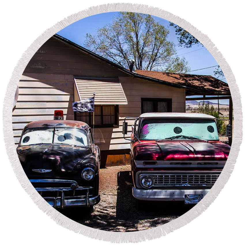 Route 66 Round Beach Towel featuring the photograph Cars 2 by Angus Hooper Iii