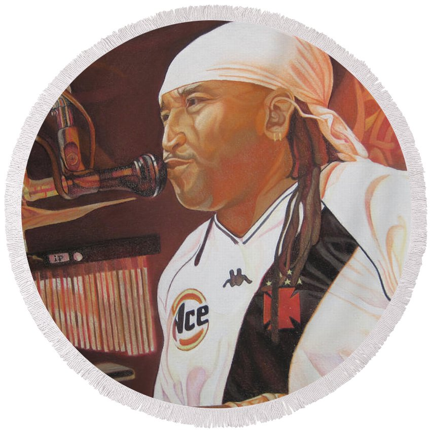 Carter Beauford Round Beach Towel featuring the drawing Carter Beauford At Red Rocks by Joshua Morton