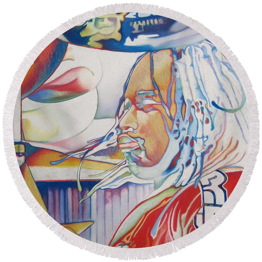 Carter Beauford Round Beach Towel featuring the drawing Carter Beauford Colorful Full Band Series by Joshua Morton