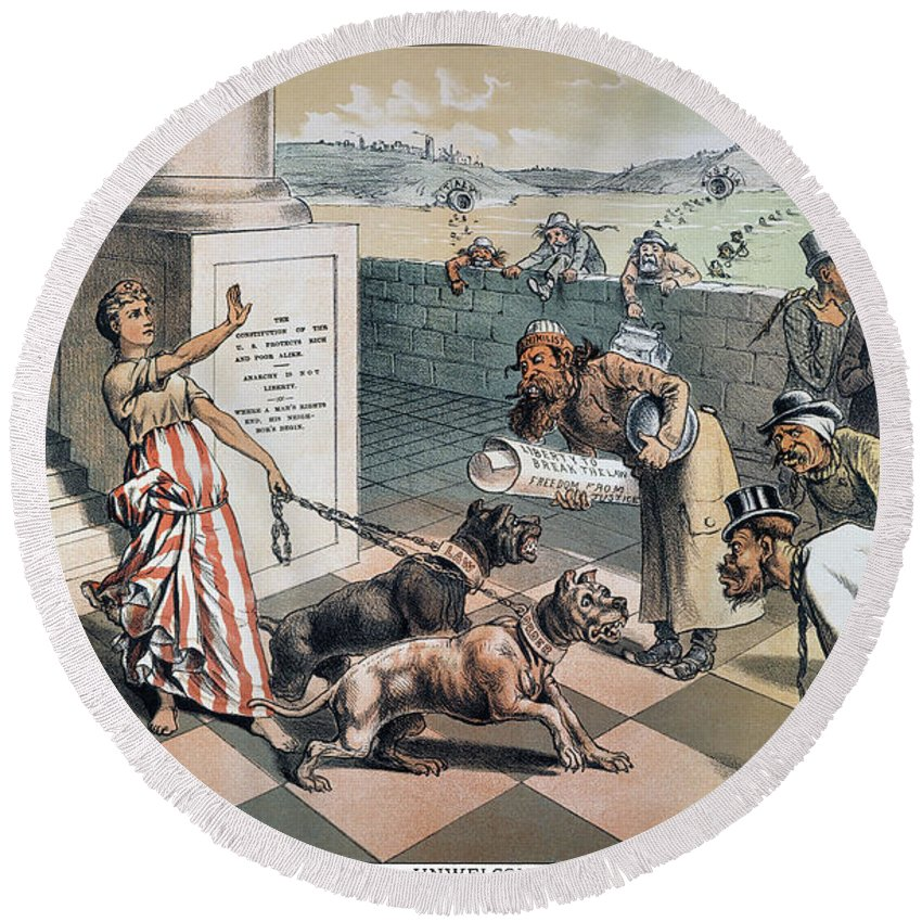 1885 Round Beach Towel featuring the painting Cartoon Immigration, 1885 by Granger