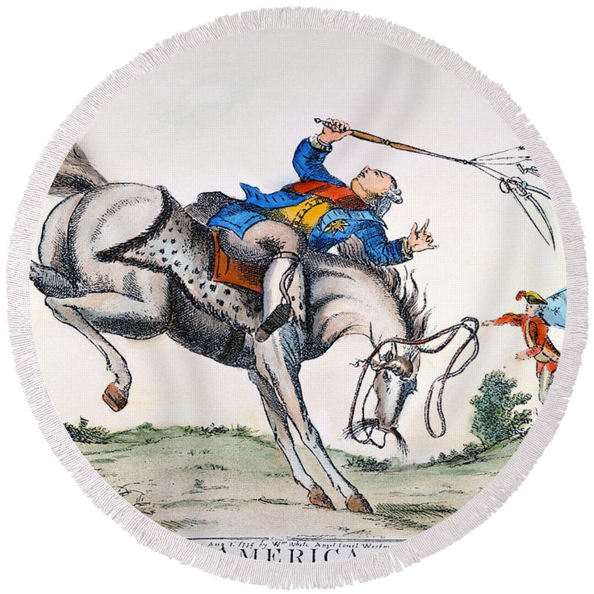 1779 Round Beach Towel featuring the photograph Cartoon: Outcome, 1779 by Granger