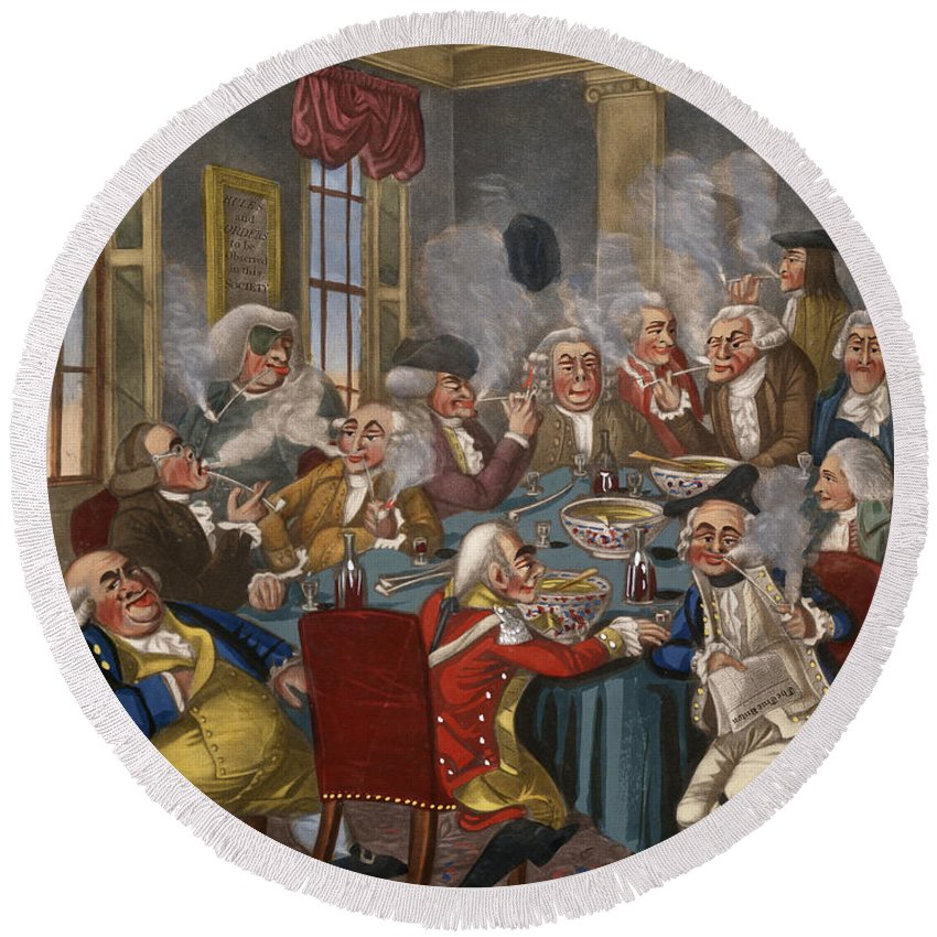 18th Century Round Beach Towel featuring the photograph Cartoon: The Smoking Club by Granger