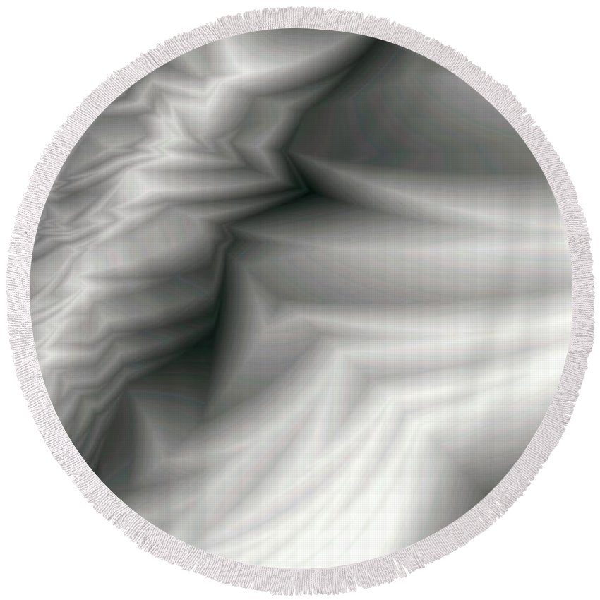 Fractal Round Beach Towel featuring the digital art Carved Ivory by Ron Bissett