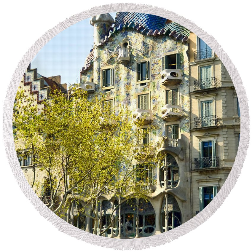 Casa Batllo Round Beach Towel featuring the photograph Casa Batllo - Barcelona Spain by Jon Berghoff