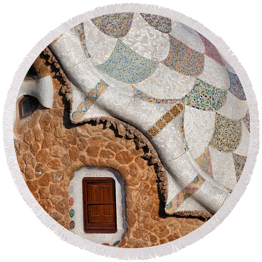 Park Round Beach Towel featuring the photograph Casa Del Guarda Details In Park Guell by Artur Bogacki