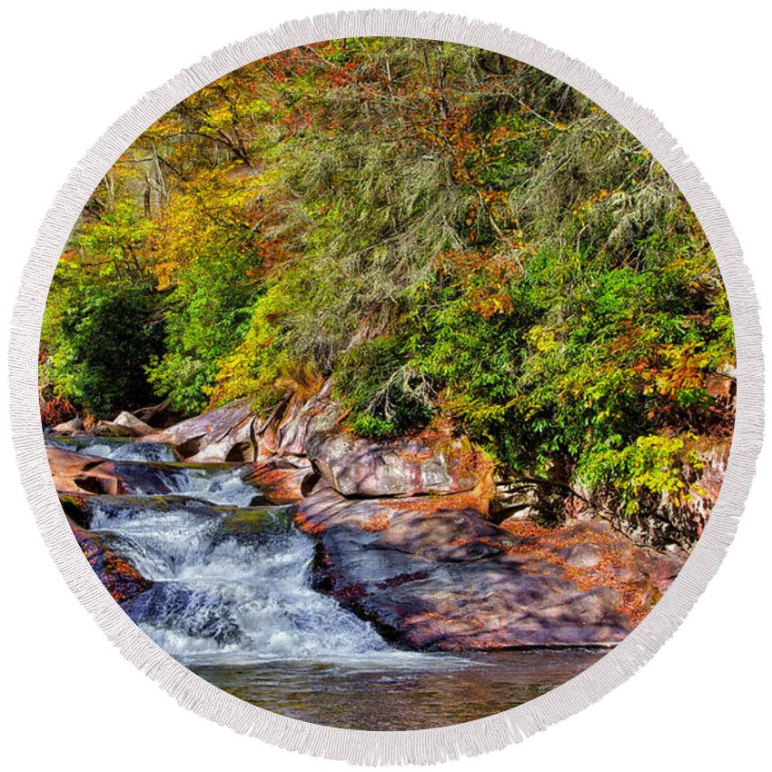 Landscape Round Beach Towel featuring the photograph Cascade Of Water by John M Bailey