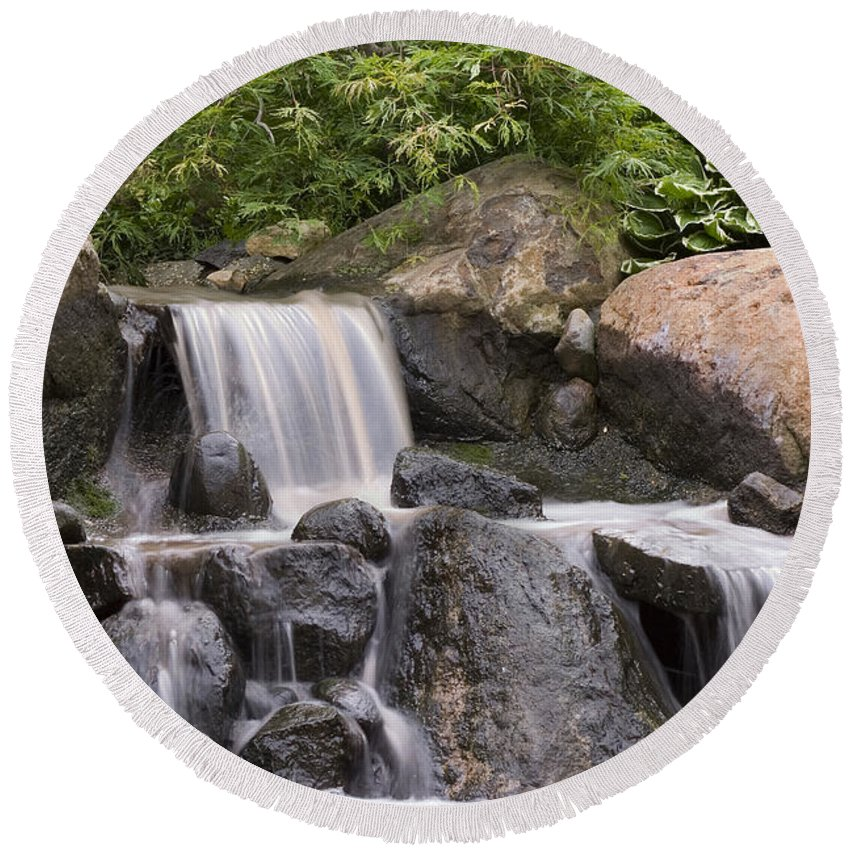 3scape Round Beach Towel featuring the photograph Cascade Waterfall by Adam Romanowicz