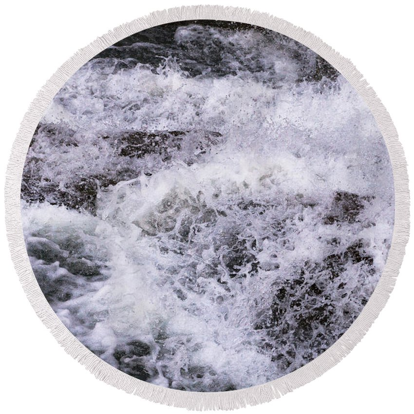 Water Round Beach Towel featuring the photograph Cascade by William Norton