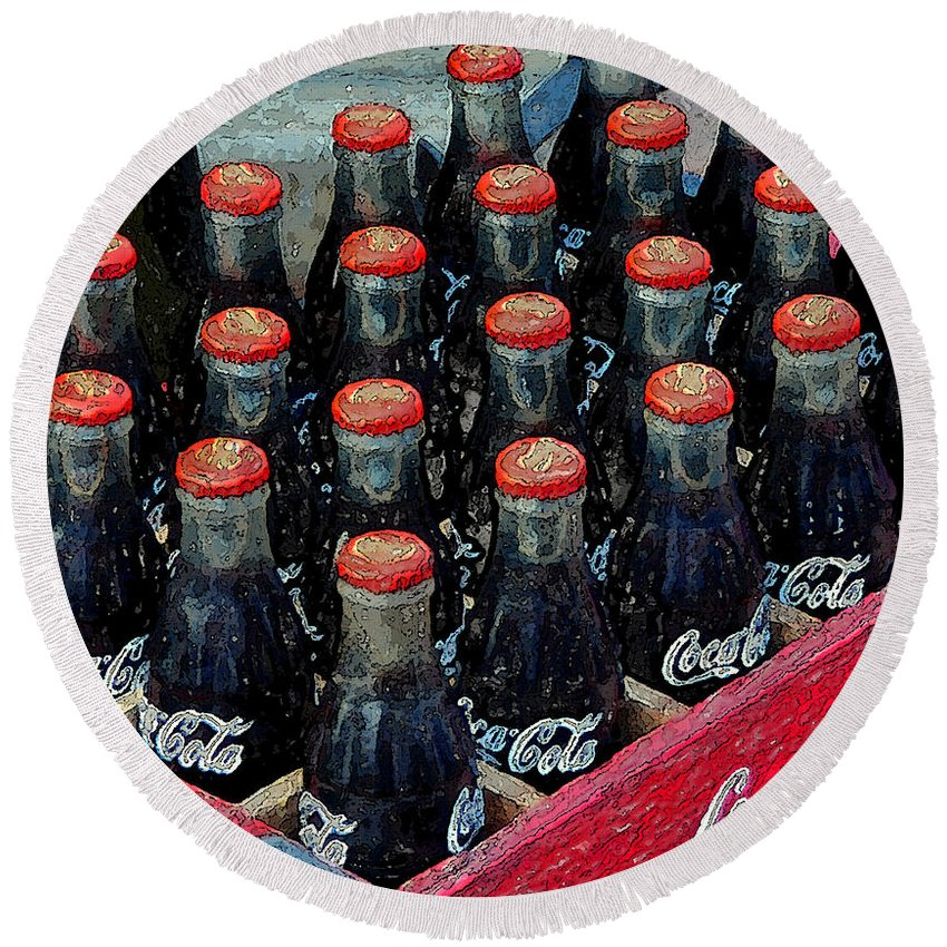 Art Round Beach Towel featuring the painting Classic Case Of Coca Cola by David Lee Thompson