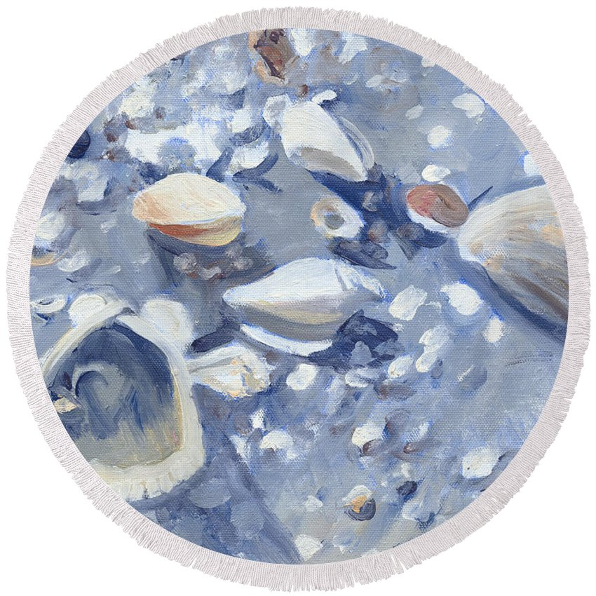 Casey Key Shells Round Beach Towel featuring the painting Casey Key Shells by Candace Lovely