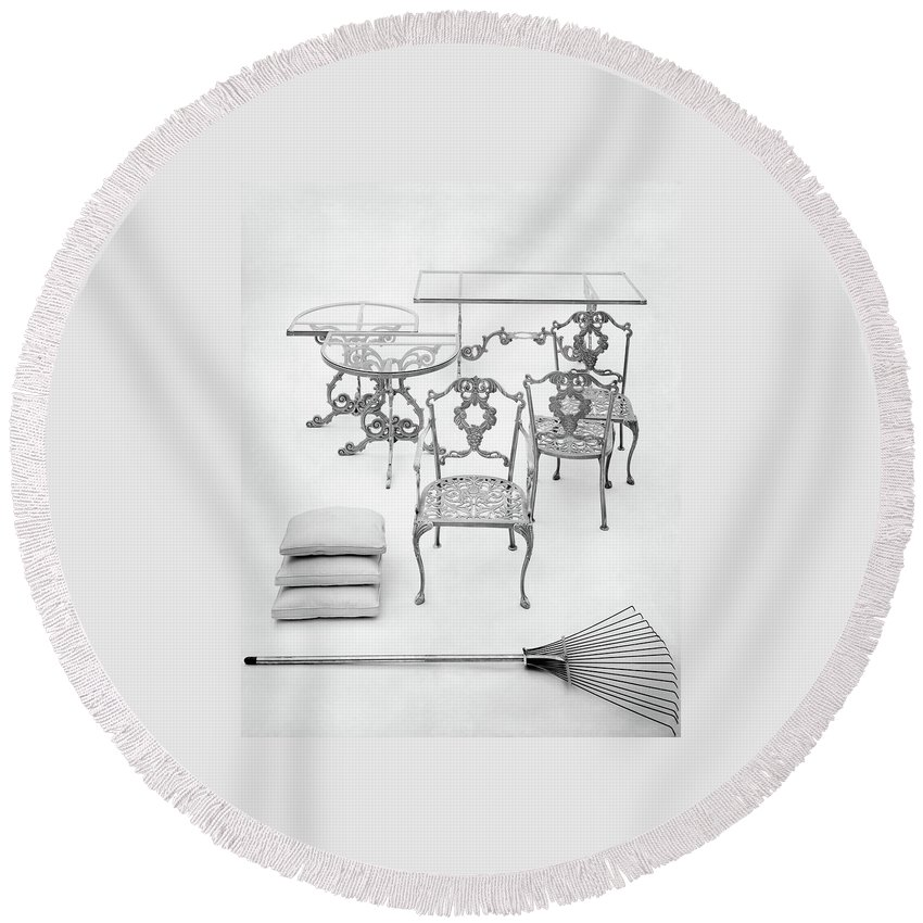 Furniture Round Beach Towel featuring the photograph Cast Aluminum Furniture By Molla by Haanel Cassidy