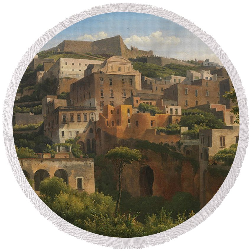 Alexandre-hyacinthe Dunouy Round Beach Towel featuring the painting Castel Sant'elmo From Chiaia. Naples by Alexandre-Hyacinthe Dunouy